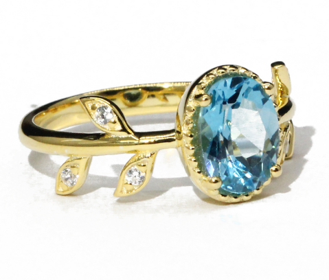 Elegant Gold Plated Blue Topaz Leaf Sterling Silver Ring - Jewel Volt