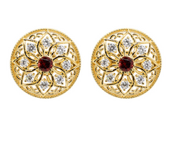 Gold Plated Silver Flower Garnet Stud Earrings