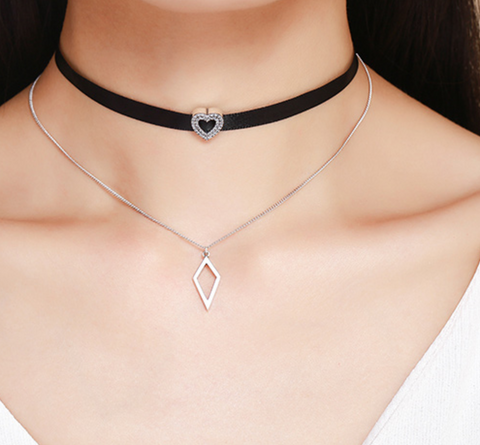 Multi Layer Sterling Silver Heart Choker