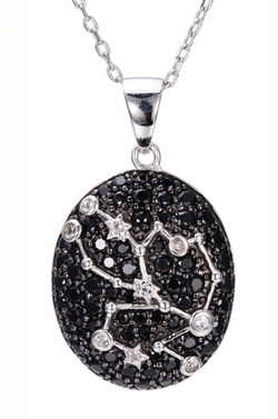 Sterling Silver Black Spinel & White Topaz Taurus Necklace
