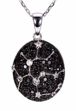 Sterling Silver Black Spinel & White Topaz Sagittarius Necklace