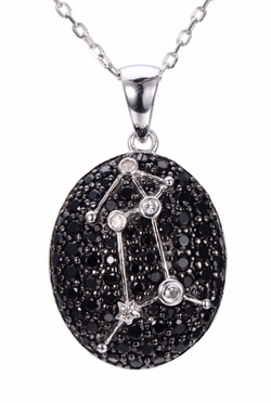Sterling Silver Black Spinel & White Topaz Aries Necklace
