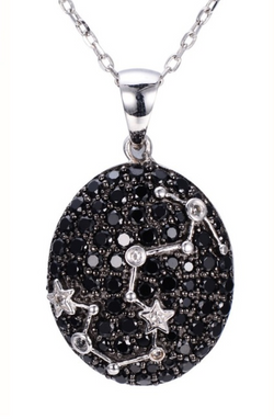 Sterling Silver Black Spinel & White Topaz Scorpio Necklace