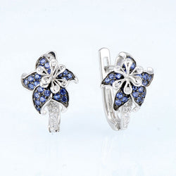 Blue Flower Cubic Zirconia Earrings - Jewel Volt