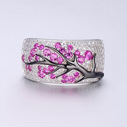Sterling Silver Cubic Zirconia Ruby Tree Statement Ring - Jewel Volt