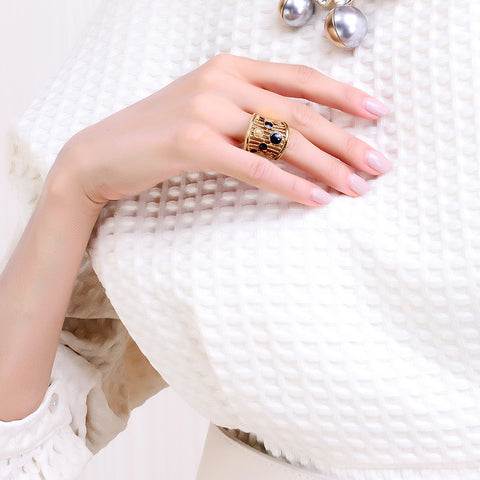 Gold Colored with Black Stone Statement Ring