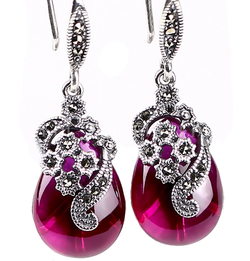 Silver Earrings Simulated Ruby Drop Earring - Jewel Volt