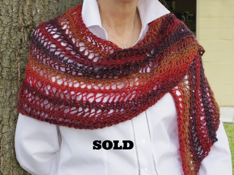 Red & Sequins, wrap/shawl/scarf, hand knit, open lace pattern