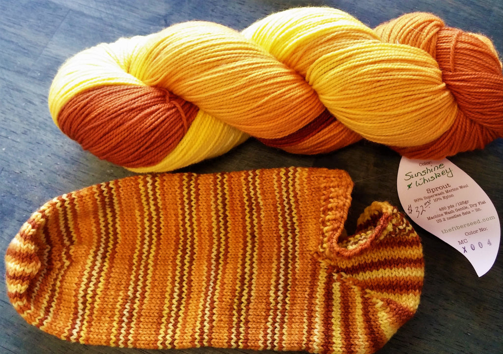 Sip & Knit Exclusive,  The Fiber Seed Sprout FIngering, 480 yds, Sunshine & Whiskey color  color