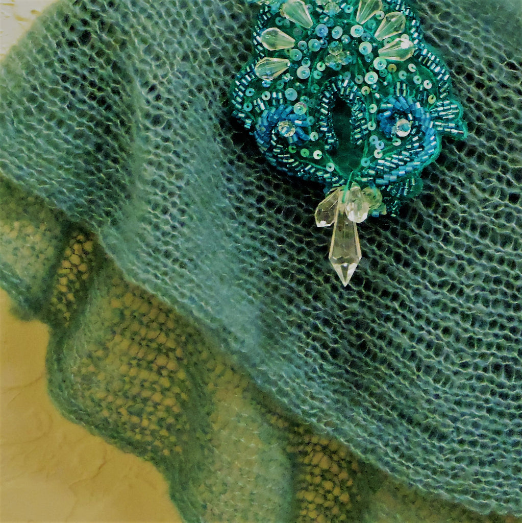 Cashmere & Silk luxury wrap/scarf, hand knit, light teal