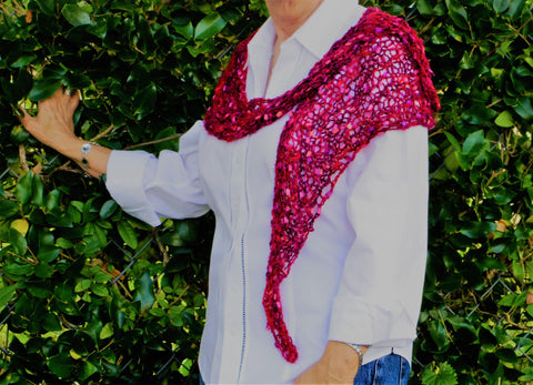 Red & pink,wrap/shawl/scarf, hand knit, airy and light