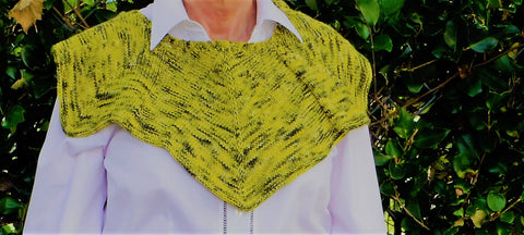 Yellow Diamond Wrap/Shawlette, hand knit,  yellow with green accents