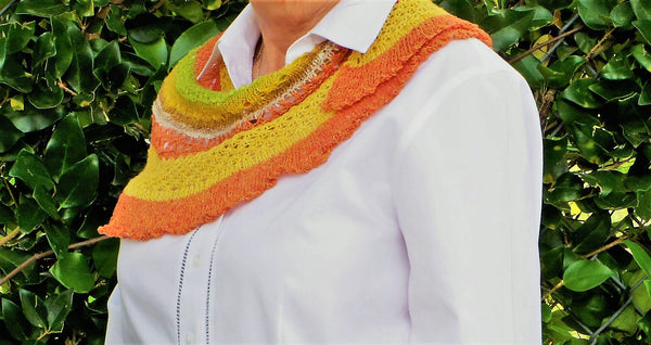 Ruffles & lace, hand knit, shawlette/scarf, yellow,rust,lie green, & beige