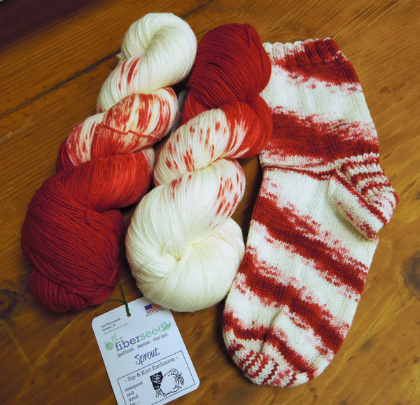 Sip & Knit Exclusive,  The Fiber Seed Sprout FIngering, 480 yds, Cheatin' Heart color