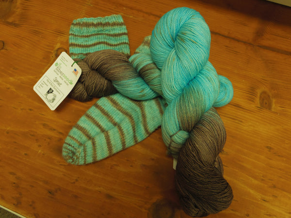 Sip & Knit Exclusive,  The Fiber Seed Sprout FIngering, 480 yds, Better With Your Boots On color