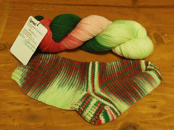 Sip & Knit Exclusive,  The Fiber Seed Sprout FIngering, 480 yds, Watermelon Tourmaline color