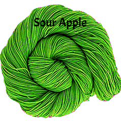 The FIber Seed Sprout fingering, 480 yds, sour apple color