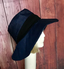 Denim color block floppy hat