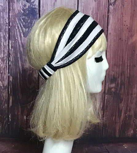 Striped Black White Knit Headband