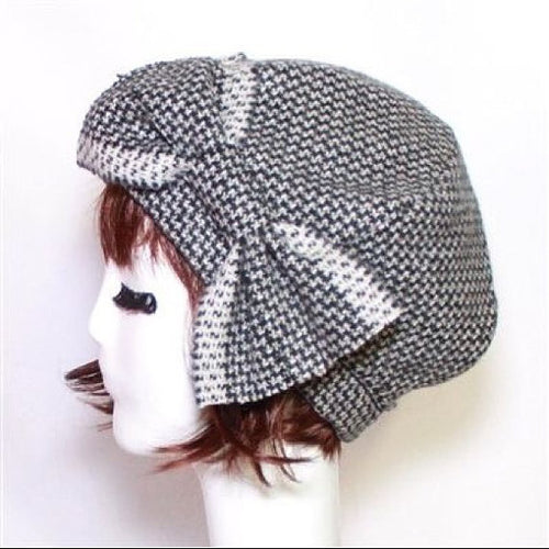 Wool Herringbone Beret Hat Bow