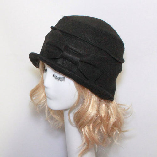Wool Cloche Hat Bow