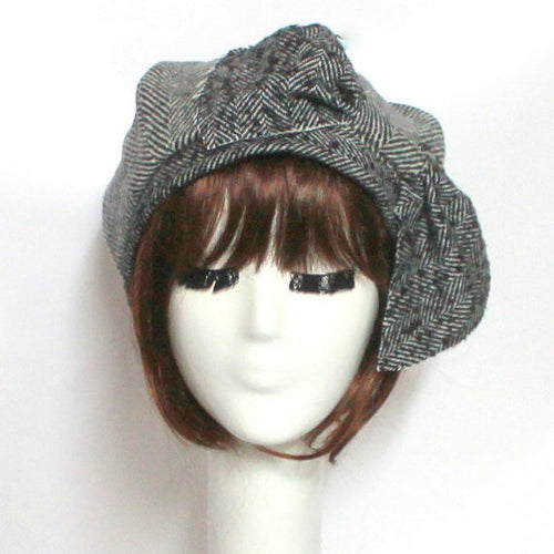 Wool Tweed Beret Bow