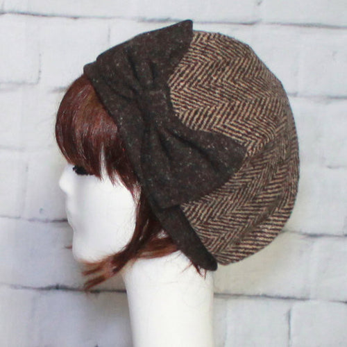 Brown Tweed Beret Bow