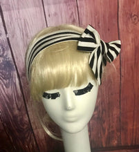 Load image into Gallery viewer, Black and White Headband Tie with a Scrunchie