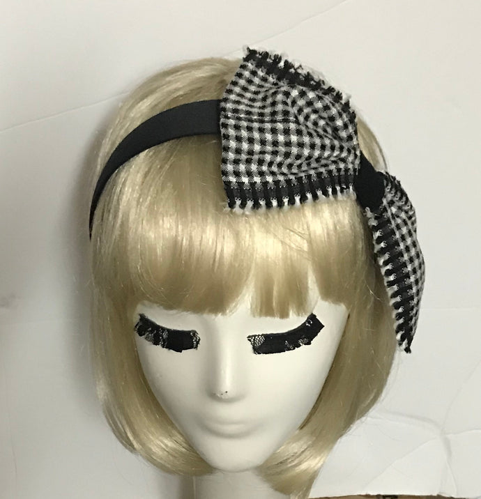 Satin headband with gingham black white bow