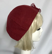 Beret Hat Wool Red Herringbone with Lace Bow