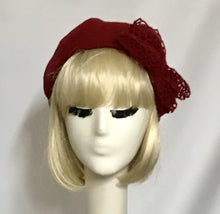 Load image into Gallery viewer, Red Beret Hat Bow