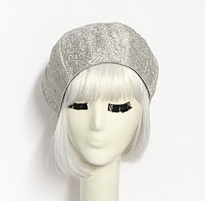 Silver Metallic Beret Hat