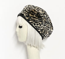 Load image into Gallery viewer, Beret Hat Leopard Faux Fur