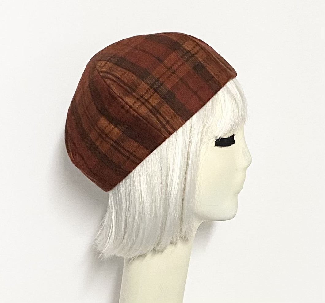 Rust Plaid Beret Hat