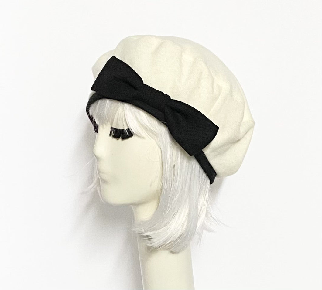 White Beret Hat Bow