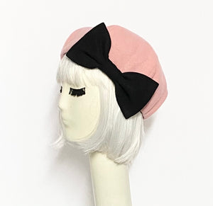 Pink Wool Beret Hat Bow