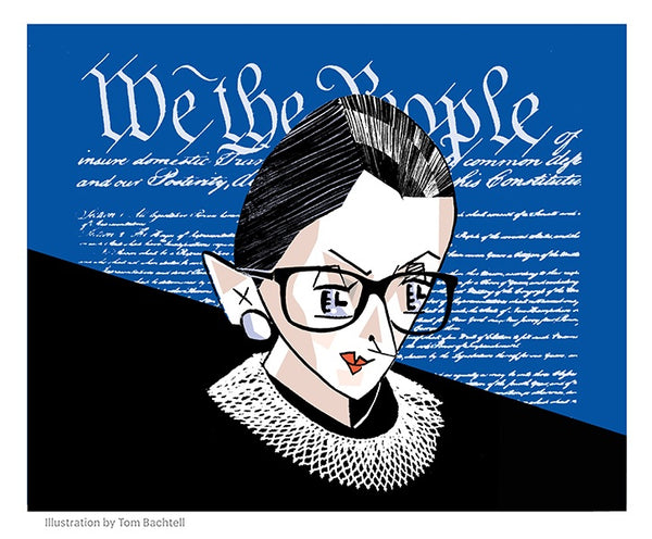 """Ruth Bader Ginsburg - Blue Background"""