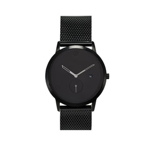 WHY Watches Midnight Collection All Black with Mesh Band Front