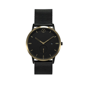 WHY Watches Midnight Collection Gold with Mesh Band Front