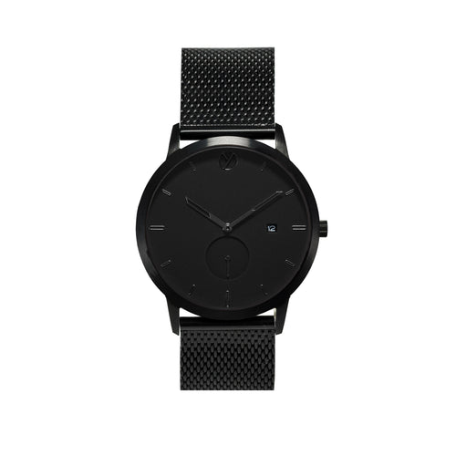 WHY Watches Midnight Collection More Black with Mesh Band Front