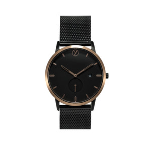 WHY Watches Midnight Collection Rose Gold with Mesh Band Front