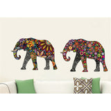 Flower Pattern Elephant - Removable Wall Sticker