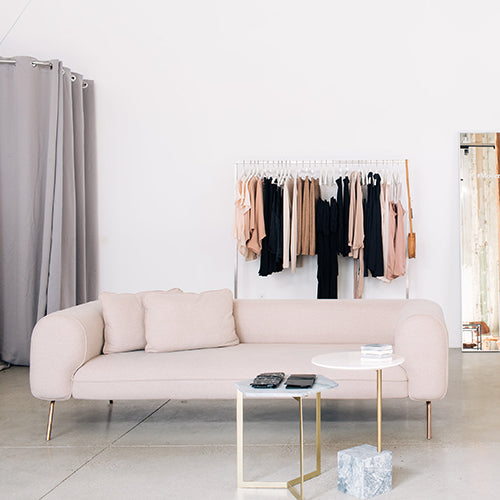 Capsule's Big Arm Sofa in Creame Felt featured in Modern Citizen's pop-up shop. Photo by Katie Gibbs