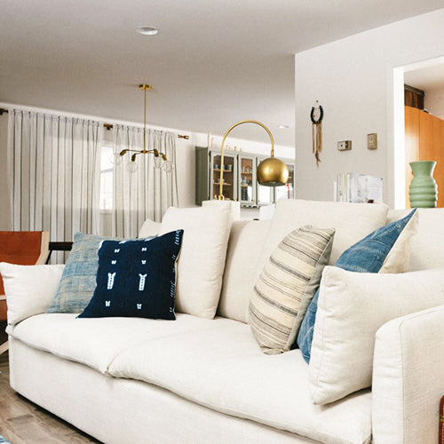Capsule Customer, Traci, with Cameron Sofa in White Linen