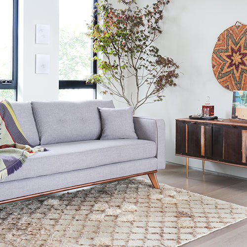 Capsule photoshoot of Frey Sofa in Grey Tweed