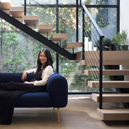 Big Arm Sofa in Indigo Felt in Tiffany Fong's home