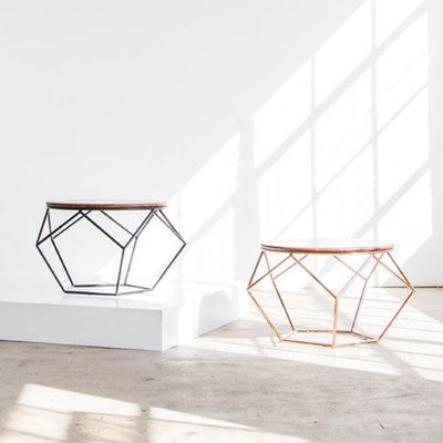 Capsule Home Alix Geometric Coffee Tables in Matte Black and Rose Gold