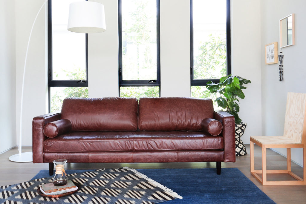 109LTHTAN,Freeman Sofa in Distressed Brown Leather