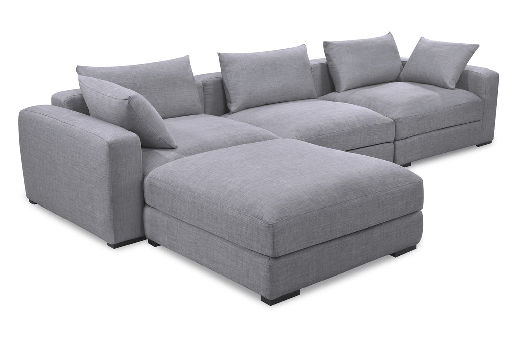 1036FTGRY,Remissa Corner Sofa In Grey Tweed