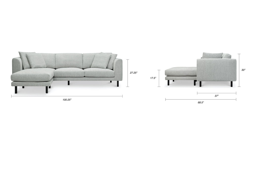 1048FWLG,Verso Sectional Sofa with Left/Right Chaise in Light Grey Weave